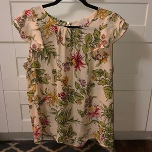 Cap sleeve floral blouse